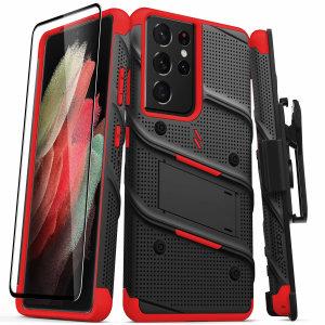 Zizo Bolt Samsung Galaxy S21 Ultra Case & Screen Protector - Black/Red