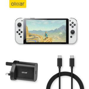 Olixar Nintendo Switch OLED 18W USB-C Fast Charger & 1.5m USB-C Cable