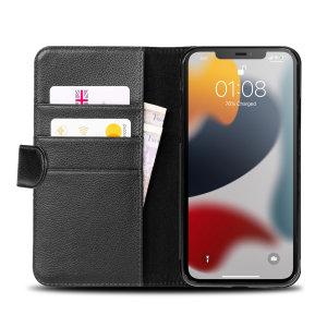 Olixar Genuine Leather iPhone 13 Wallet Stand Case - Black