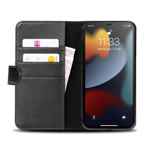 Olixar Genuine Leather iPhone 13 Pro Wallet Stand Case - Black