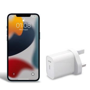 Olixar iPhone 13 mini 20W Single USB-C Wall Charger - UK Plug - White