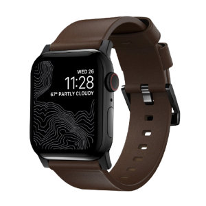 Nomad Apple Watch Series 7 45mm Brown Leather Strap - Black Hardware