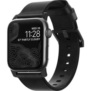 Nomad Apple Watch Series 7 45mm Black Leather Strap - Black Hardware