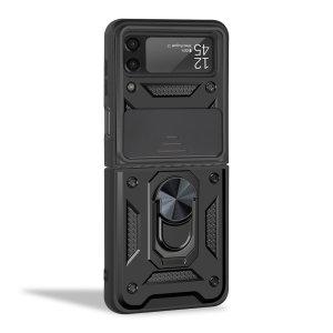 Olixar Armourdillo Samsung Galaxy Z Flip 3 Finger Ring Case - Black
