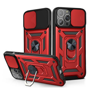 Olixar Armourdillo iPhone 13 Pro Max Ring Stand Case - Red