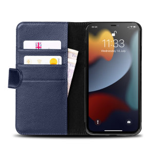 Olixar Genuine Leather iPhone 13 Pro Wallet Stand Case - Navy