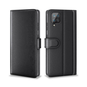 Olixar Genuine Leather Samsung Galaxy A12 Wallet Stand Case - Black
