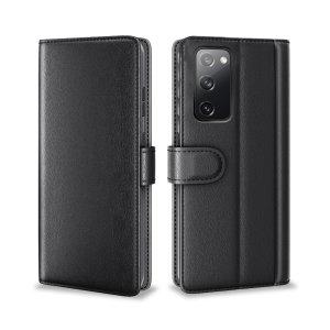 Olixar Genuine Leather Samsung Galaxy S20 FE Wallet Stand Case - Black