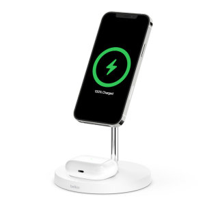 Belkin iPhone 13 Pro 2-in-1 MagSafe charging Stand - White