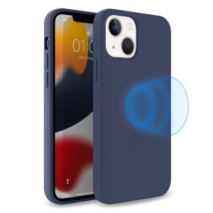 Olixar MagSafe Compatible iPhone 13 Soft Silicone Case - Navy