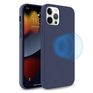 Olixar MagSafe Compatible iPhone 13 Pro Soft Silicone Case - Navy