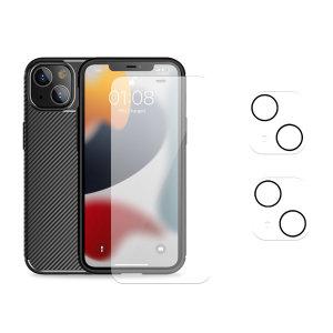 Olixar iPhone 13 Tough Case, Screen & Camera Protector Pack