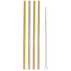 Accessorize 4 Pack of Reusable Metal Straws & Cleaner - Silver & Gold