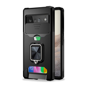 Olixar Google Pixel 6 Pro Stand Case With Camera Privacy Cover - Black