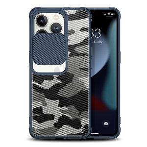 Olixar iPhone 13 Pro Sliding Camera Privacy Cover Case - Camo Blue