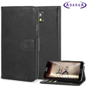 Adarga Leather-Style Samsung Galaxy Note 3 Wallet Case - Black