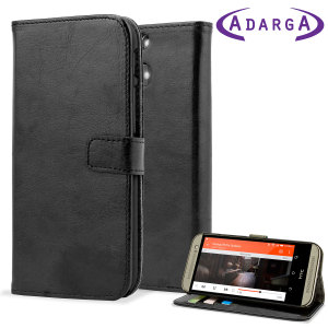 Adarga Leather Style Wallet Case for HTC One M8 W/ Clasp - Black