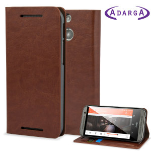 Adarga Leather-Style Wallet Stand HTC One M8 Case - Brown