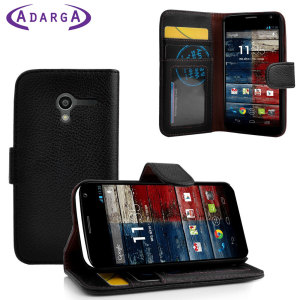 Adarga Moto G Leather-Style Wallet Case - Black