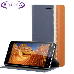 Adarga Premium Wiko Rainbow Wallet Case - Blue / Brown