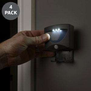 AGL Wireless LED PIR Motion Sensor Handy Lamp - Black 4 pack