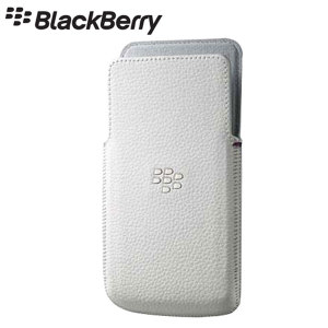 Blackberry Leather Pocket Case Cover for Z30 - White
