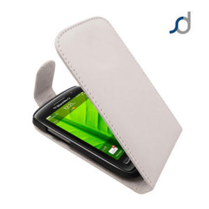 Blackberry Torch 9860 Leather Flip Case - White
