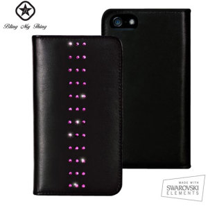 Bling My Thing Mystique Stripe iPhone 5S / 5 Case - Black / Pink