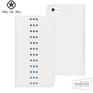 Bling My Thing Mystique Stripe iPhone 5S / 5 Case - White / Blue