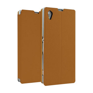 Book Flip and Stand Case for Sony Xperia Z1 - Brown