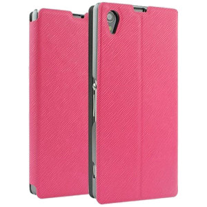 Book Flip and Stand Case for Sony Xperia Z1 - Pink