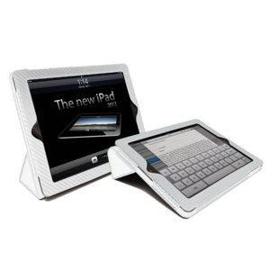 Carbon Fibre Style iPad 4 / 3 / 2 Case - White