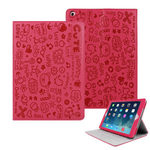 Cartoon Magic Girl Case with Stand for iPad Air - Hot Pink