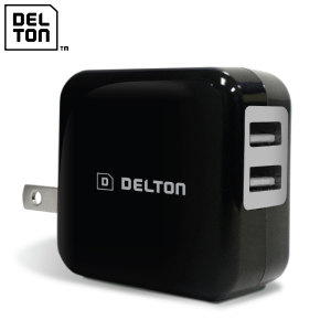 Delton High Speed 2.1A Dual USB US Wall Charger - Black