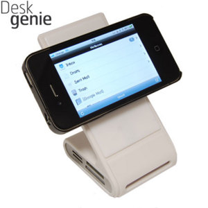 Desk Genie Non-Slip Charging Desk Stand - White