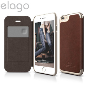 Elago Leather Flip Case for iPhone 6S / 6 - Champagne Gold and Brown
