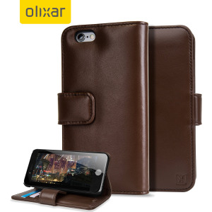Encase Genuine Leather iPhone 6 Wallet Case - Brown