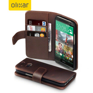 Encase HTC One M8 Genuine Leather Wallet Case - Brown