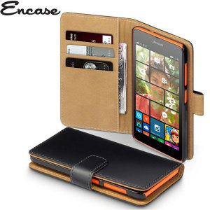 Encase Leather-Style Microsoft Lumia 435 Wallet Case - Black