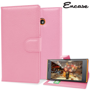 Encase Leather-Style Nokia Lumia 735 Wallet Case - Pink