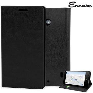 Encase Leather-Style Nokia Lumia 930 Wallet Stand Case - Black