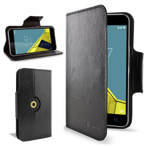 Encase Leather-Style Vodafone Smart Ultra 6 Wallet Case - Black