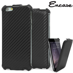 Encase Slimline iPhone 6 Carbon Fibre Leather-Style Flip Case - Black