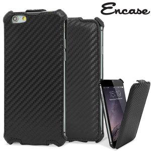 Encase iPhone 6S / 6 Carbon Fibre Leather-Style Flip Case - Black