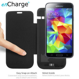 enCharge Samsung Galaxy S5 Power Jacket Flip Case 4800mAh - Black