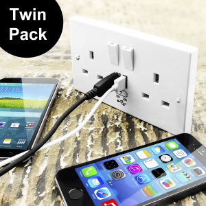 enCharge UK Power Socket with USB Charging Wall Plate Twin pack