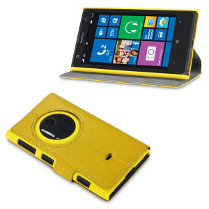 FlexiShield Leather-Style Nokia Lumia 1020 Wallet Case - Yellow