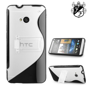 FlexiShield Wave Stand Case for HTC One M7 - Clear / Black
