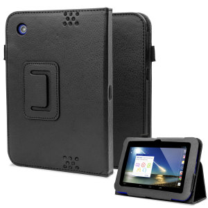 Folio Leather Style Stand Case and Hand Grip for Tesco Hudl - Black
