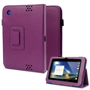 Folio Leather Style Stand Case and Hand Grip for Tesco Hudl - Purple